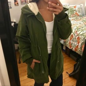 GUC Sherpa-Lined(?) Utility Jacket, Green - S